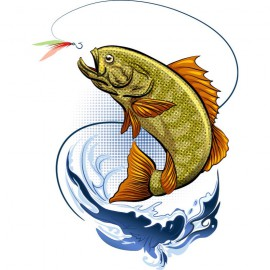 An illustrated fish jumping at a fishing fly to illustrate The Language Lab's post about a Good Hook.