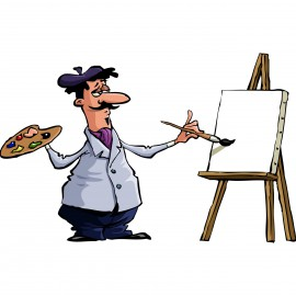 Cartoon artist painting on an easel to illustrate The Language Lab's a thousand words blog post.