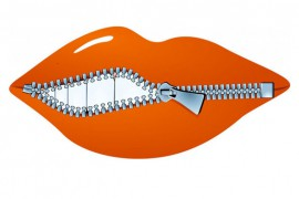 lips illustrated with a zipper closing them. Used to illustrate the Language Lab's post about the gift of gab.