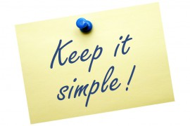 "A post it note with the words ""Keep it Simple"". To illustrate the advice in the blog post about writing for business."