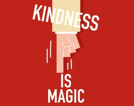 "The words ""kindness is magic"" are shown above a finger pressing a button. Kindness works in workplace communication."