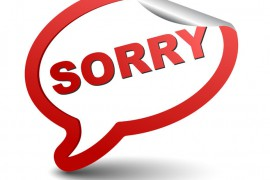 "The word ""sorry"" in a speech bubble used to illustrate our 'how not to communicate in business' list."