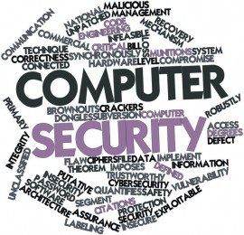 A word cloud of computer security related tags and terms