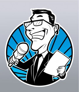 a vintage cartoon depiction of a media in the form of a man holding a microphone and a scrip